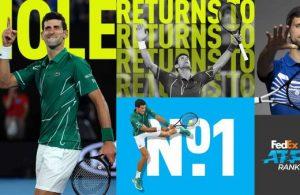 Djokovic retorna al puesto numero 1 ATP